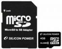 Карта памяти SILICON POWER 4GB MICROSDHC CLASS 6